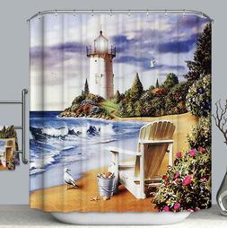 Adirondack Beach Shore Lighthouse Fabric Shower Curtain Tran