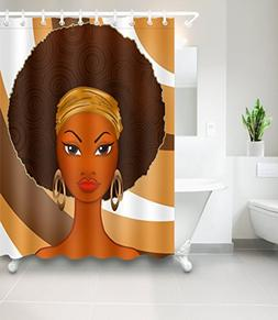 LB African American Afro Black Girl Art Shower Curtain for S