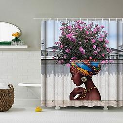 Beautiful Flower Girl Art Shower Curtain for Shower Stall by