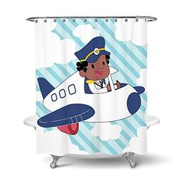 African American Shower Curtain Art for Kids Bathroom Decor