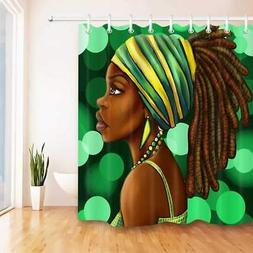 African American Woman Shower Curtain Afro Hairstyle Black G