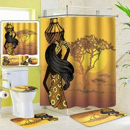 African Girl Bathroom Shower Curtain Toilet Cover Mat Non-Sl