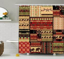Ambesonne African Shower Curtain, Patchwork Style Asian Patt