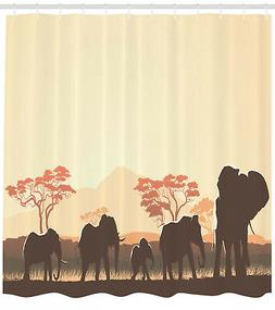 African Shower Curtain Safari Animal Elephant Print for Bath