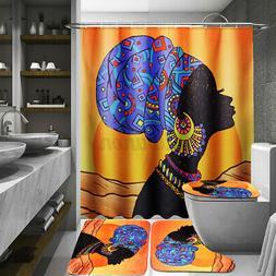 African Woman Waterproof Bathroom Shower Curtain Bath Toilet