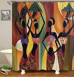 African Women Shower Curtain Black Lady Waterproof Water Rep