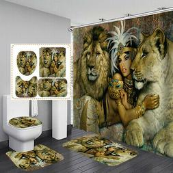 African Women Shower Curtain with 12 Hooks Bath Mat Toilet C