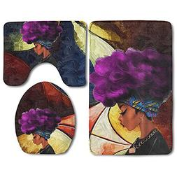 African Women With Purple Hair Skidproof Toilet Seat Cover B