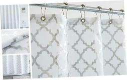 Aimjerry Silver Gray Fabric Shower Curtain for Bathroom,Stri