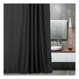 Aimjerry Fabric Shower Curtain Polyester Striped Mold Resist