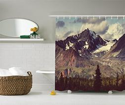 Ambesonne Alaska Mountains Decor by, Arctic Landscape Wilder