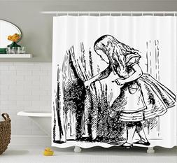 Ambesonne Alice in Wonderland Decorations Shower Curtain Set