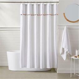 Amazon Basics Standard Fabric Pom Pom Trim Shower Curtain 72