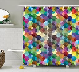 Ambesonne Abstract Home Decor Collection, Color Cubes Mosaic