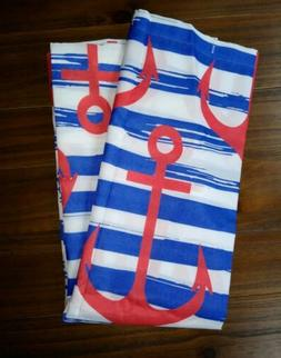 Ambesonne Anchor Nautical Shower Curtain Red, White, Blue Pa