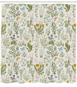 Ambesonne Floral Shower Curtain, Vintage Garden Plants With