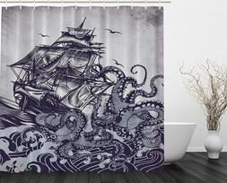 Ambesonne Kraken Shower Curtain Sail Boat Waves Octopus Old