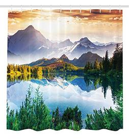 Ambesonne Scenic Decor Collection, Mountain Lake View Sunny