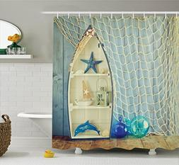 Ambesonne Blue Shower Curtain Nautical Decor, Boat Standing