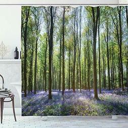 Ambesonne Woodland Shower Curtain, Bluebells in Wepham Woods