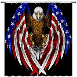 American Eagle USA Flag Shower Curtain Fabric Bathroom Decor