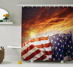 Ambesonne American Flag Decor Shower Curtain, Flag in front