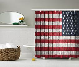 Ambesonne American Flag Shower Curtain USA Decor, Fourth of