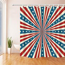 Queeni American Flag Series Shower Curtain Printed Special S