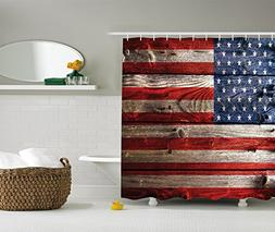 American Flag Shower Curtain Decor by Ambesonne, Country Emb