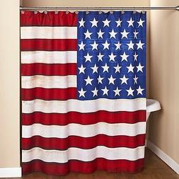 american flag shower curtain patriotic bathroom accent