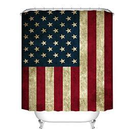 Fangkun American Flag Design Shower Curtain USA Decor Curtai