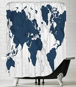 """American Flat """"Marble World Map Navy"""" Shower Curtain by Sama"""