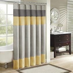 Madison Park Amherst Fabric Yellow Shower Curtain, Pieced Tr
