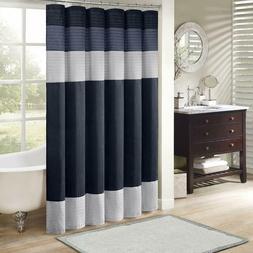 Madison Park Amherst Faux Silk Pieced Shower Curtain Navy 72
