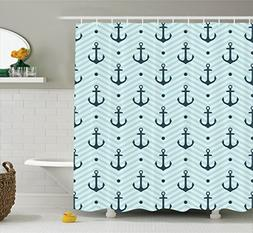 Ambesonne Anchor Decor Shower Curtain Set, Anchors Zigzag Ch