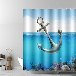 ABxinyoule Anchor Ocean Shower Curtain for Bathroom Decor Fa