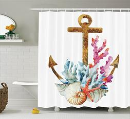 Ambesonne Anchor Shower Curtain Set Home Decor, Anchor With