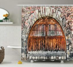 Ambesonne Ancient Rustic Brick Rampart Wooden Castle Door Sh