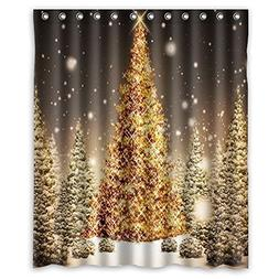AnHome Print Golden Merry Christmas Tree In Big Snow Confirm