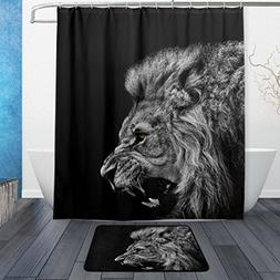 ALAZA Set of 2 Animal African Lion 60 X 72 Inches Shower Cur