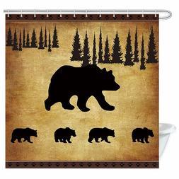 Animal Black Bear Shower Curtain, Rustic Cabin Wildlife Bath