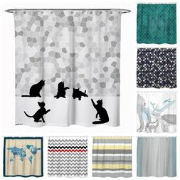 Fabric Shower Curtain Sunlitlight Animal Chevron Cat Waterpr