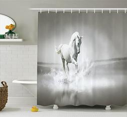 Ambesonne Animal Decor Shower Curtain Set, Horse Running Thr