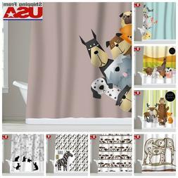 Animal Dog Cat Kid Waterproof Fabric Shower Curtain Bathroom