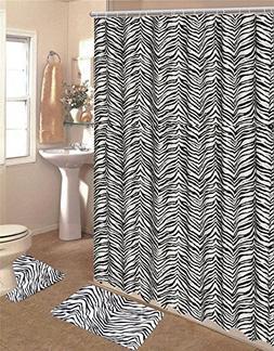 15 Piece Zebra Animal Print Memory Foam Bath Rug Set Bathroo