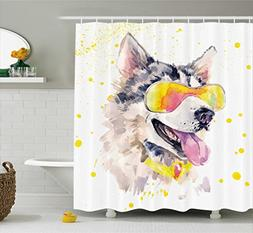Ambesonne Animal Shower Curtain by, Funny Husky Dog with Sun