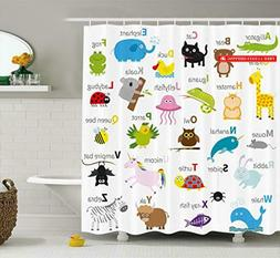 Ambesonne Animal Shower Curtain by, Cute Zoo Creatures Turtl