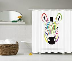 Ambesonne Animal Shower Curtain Decor by, Colorful Exotic Ze