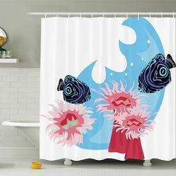 Ambesonne Animal Tropical Fish Cartoon Shower Curtain Set