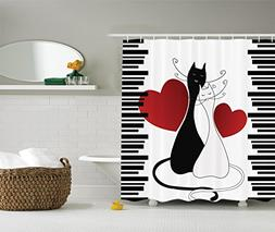 Ambesonne Animals Decor Cats in Love Shower Curtain Set, Rom